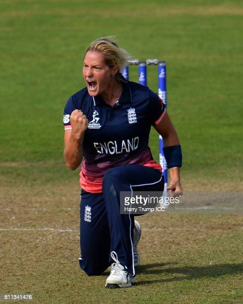 Katherine Brunt of England celebrates the wicket of Ellyse Perry of Australia during the ICC Women's World Cup 2017 match between England and...