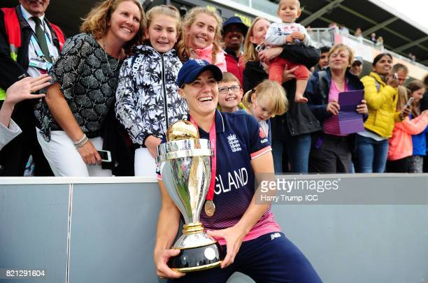 Katherine Brunt of England celebrates with the trophy during the ICC Women's World Cup 2017 Final between England and India at Lord's Cricket Ground...