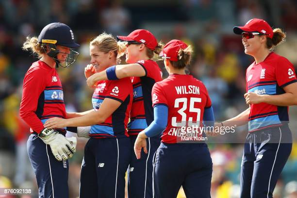 Katherine Brunt of England celebrtaes a wicket with team mates during the second Women's Twenty20 match between Australia and England at Manuka Oval...
