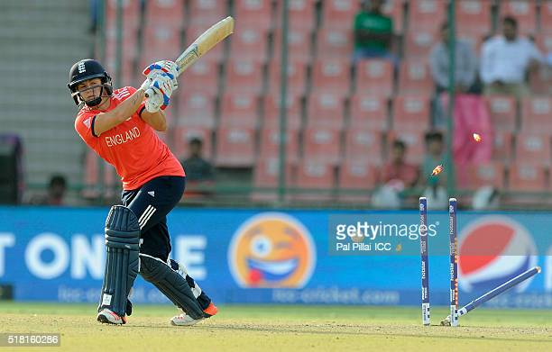 Katherine Brunt of England gets bowled out by Megan Schutt of Australia during Women's ICC World Twenty20 India 2016 Semi Final match between England...