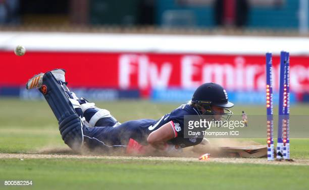 Katherine Brunt of England is run out during the ICC Women's World Cup match between England and India at The 3aaa County Ground on June 24 2017 in...