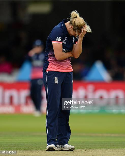 Katherine Brunt of England reacts during the ICC Women's World Cup 2017 Final between England and India at Lord's Cricket Ground on July 23 2017 in...