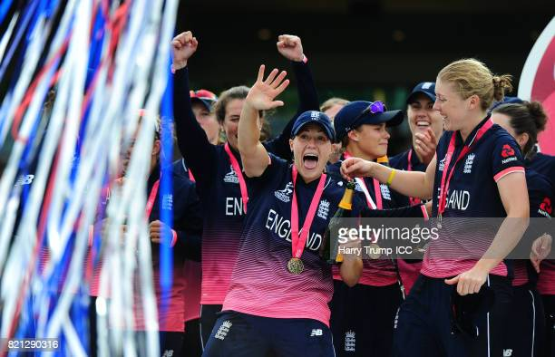Katherine Brunt of England waves during the ICC Women's World Cup 2017 Final between England and India at Lord's Cricket Ground on July 23 2017 in...
