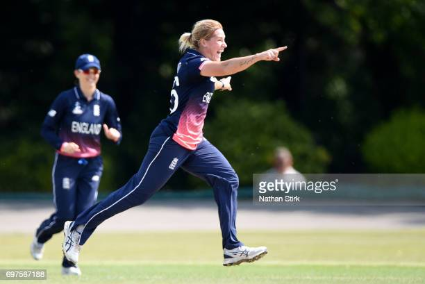 Katherine Brunt of England Women's celebrate after she takes a wicket during the ICC women's world cup warm up match between England Women's and Sri...