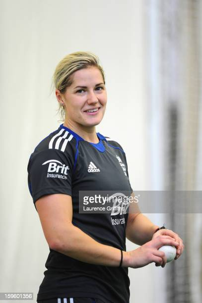 Katherine Brunt of the England Womens Cricket team during net practice at Edgbaston on January 10 2013 in Birmingham England