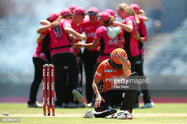Katherine Brunt of the Scorchers reacts as the Sixers celebrate winning the Women's Big Bash League match between the Perth Scorchers and the Sydney...