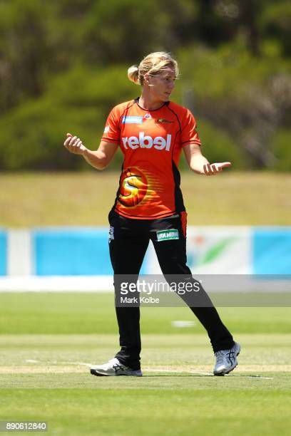 Katherine Brunt of the Scorchers shows her frustration after being called for a noball for two short balls in an over during the Women's Big Bash...