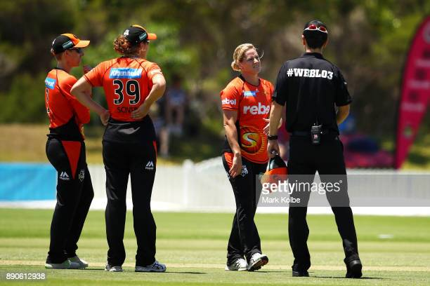 Katherine Brunt of the Scorchers shows her frustration to the umpires after being called for a noball for two short balls in an over during the...