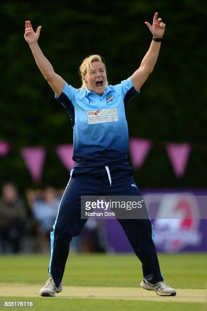 Katherine Brunt of Yorkshire appeals during the Kia Super League 2017 match between Loughborough Lightning and Yorkshire Diamonds at The Haslegrave...