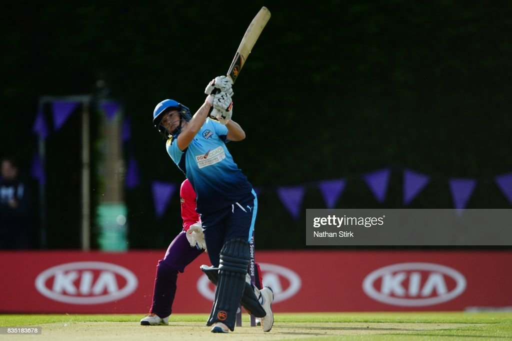 Katherine Brunt of Yorkshire batting during the Kia Super League 2017 match between Loughborough Lightning and Yorkshire Diamonds at The Haslegrave Cricket Ground on August 18, 2017 in Loughborough, England.
