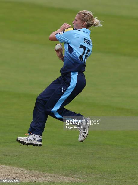 Katherine Brunt of Yorkshire Diamonds during the Kia Super League 2017 between Yorkshire Diamonds and Lancashire Thunder at Headingley on August 11...