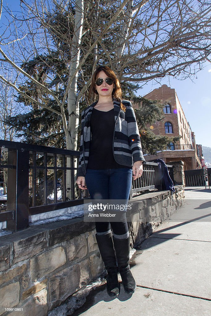 Katherine Castro, actress from Los Angeles, wearing Ray Ban aviators, WeWood watch, Rag & Bone Blazer, BSBG top, Cooples jeans, Neimann Marcus Socks, and Ugg Boots on January 22, 2013 in Park City, Utah.