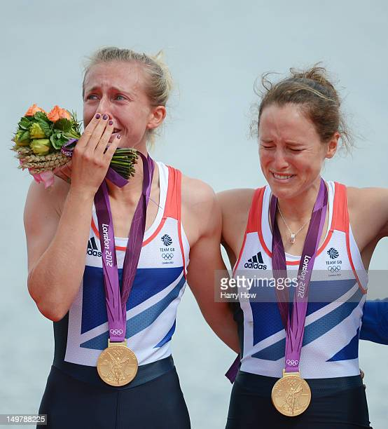 Katherine Copeland and Sophie Hosking of Great Britain celebrate with their gold medals during the medal ceremony for the Lightweight Women's Double...
