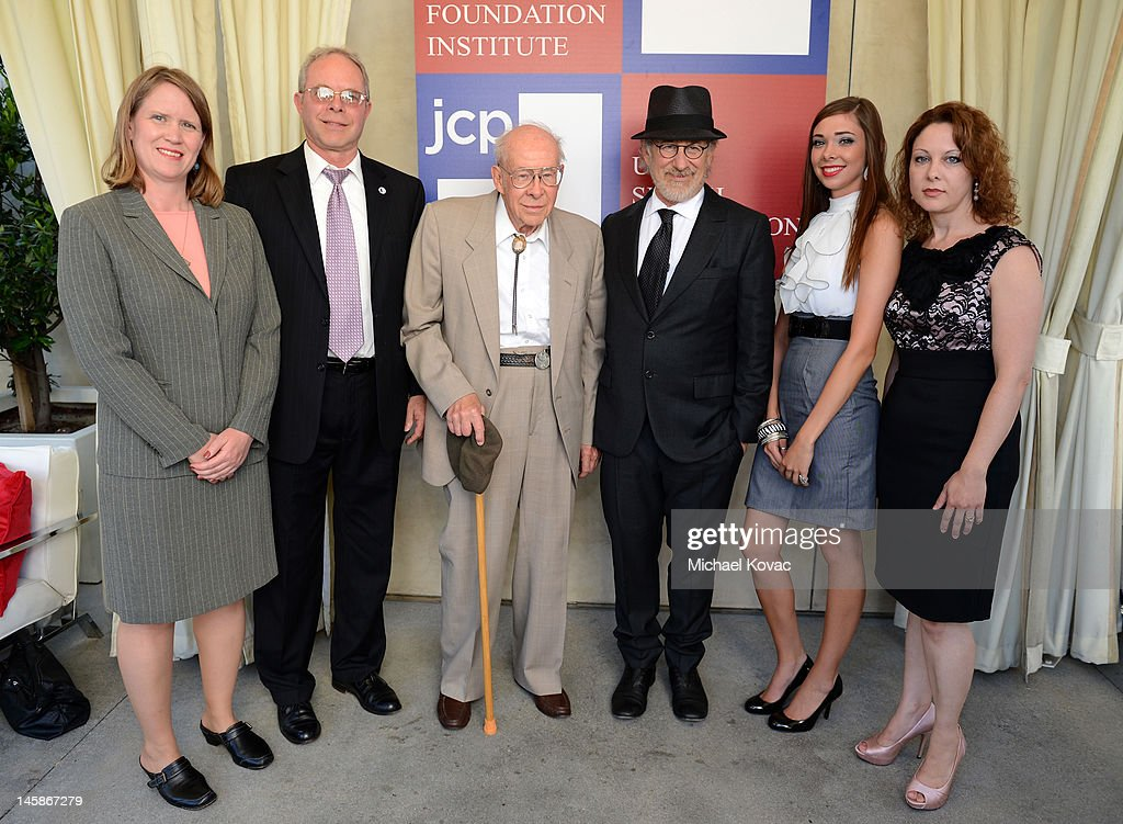Katherine Creese, John Langhorst, World War II veteran Arthur Langhorst, Shoah Foundation founder <a gi-track='captionPersonalityLinkClicked' href=/galleries/search?phrase=Steven+Spielberg&family=editorial&specificpeople=202022 ng-click='$event.stopPropagation()'>Steven Spielberg</a>, Kerith Wells and Jennifer Pangilinan attend the USC Shoah Foundation Institute Ambassadors for Humanity Gala held at the Grand Ballroom at Hollywood & Highland Center on June 6, 2012 in Hollywood, California.