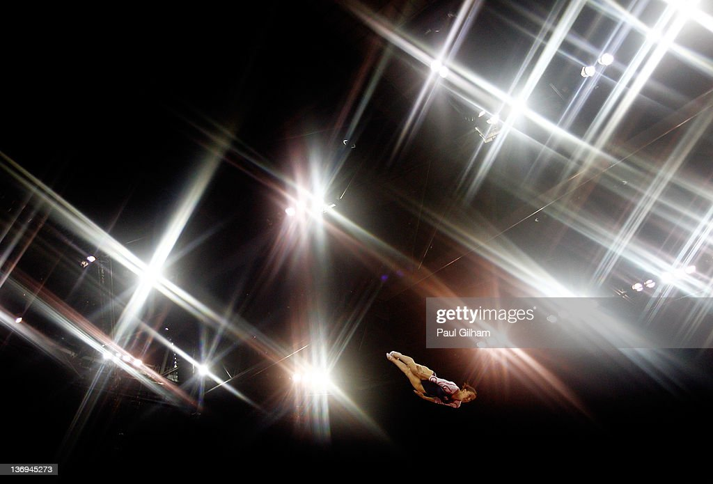 Katherine Driscoll of Great Britain in action in the final round during the Gymnastics Trampoline Olympic Qualification at North Greenwich Arena on January 13, 2012 in London, England.