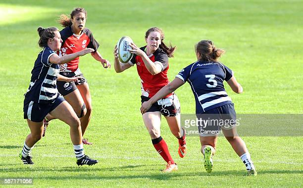 Katherine Evans of Saracens and Carys Phillips of Bristol Ladies during the Singha Premiership Rugby 7s Series Women's Final between Saracens and...