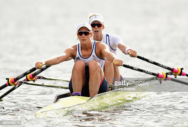 Katherine Grainger and Vicky Thornley of Great Britain train at Lagoa Rodrigo de Freitas on August 3 2016 in Rio de Janeiro Brazil