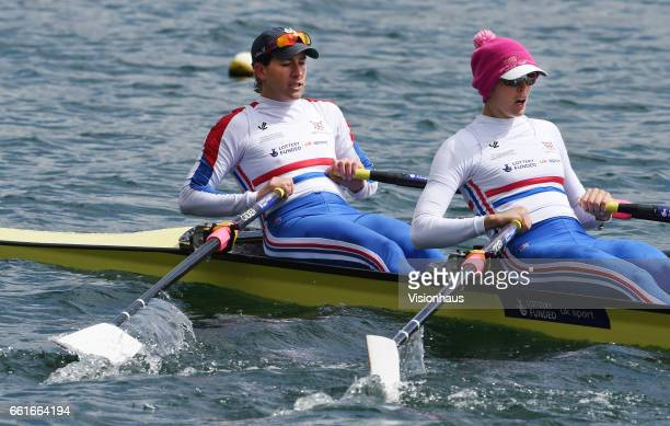Katherine Grainger and Victoria Thornley of the GB Olympic Team at the Redgrave Pincent Rowing Lake in Caversham Berkshire