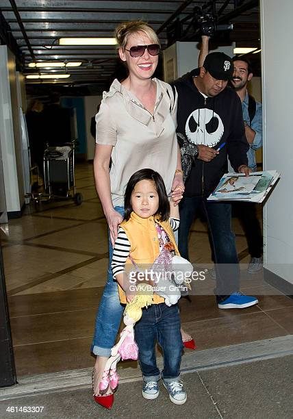 Katherine Heigl and her daughter Naleigh Kelley are seen at LAX airport on January 08 2014 in Los Angeles California