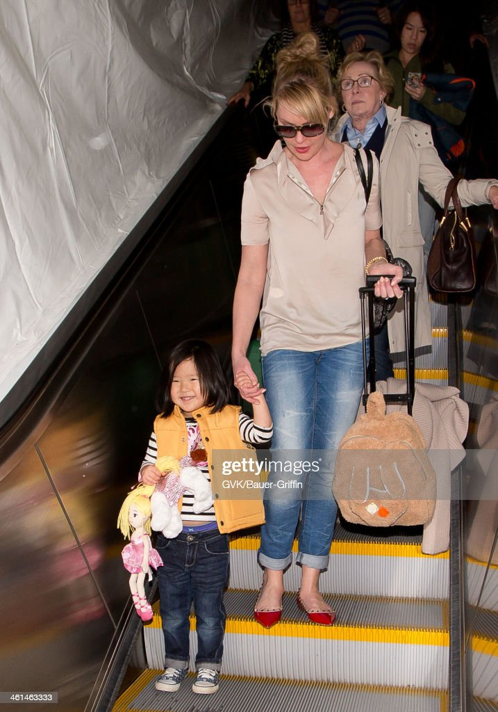 Katherine Heigl and her daughter Naleigh Kelley are seen at LAX airport on January 08, 2014 in Los Angeles, California.