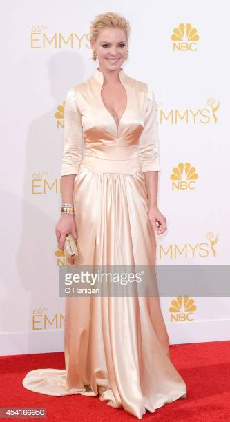 Katherine Heigl arrives at the 66th Annual Primetime Emmy Awards at Nokia Theatre LA Live on August 25 2014 in Los Angeles California