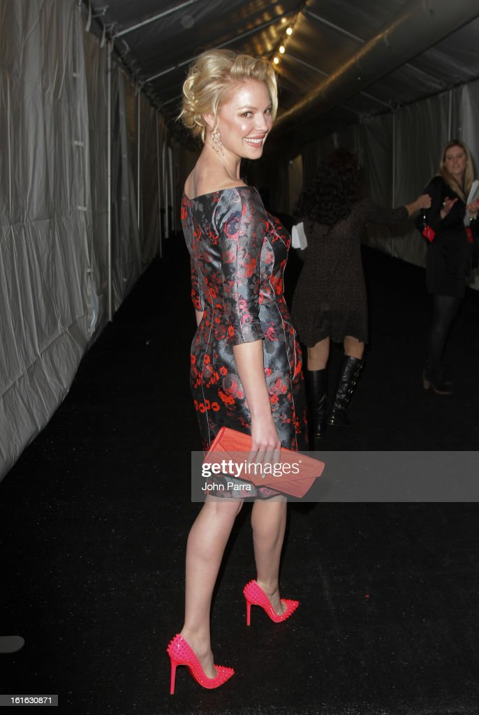 Katherine Heigl is seen during Fall 2013 Mercedes-Benz Fashion Week at Lincoln Center for the Performing Arts on February 13, 2013 in New York City.