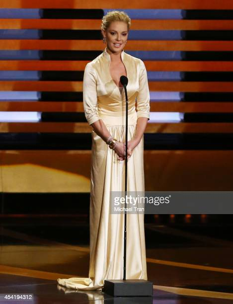 Katherine Heigl speaks onstage during the 66th Annual Primetime Emmy Awards held at Nokia Theatre LA Live on August 25 2014 in Los Angeles California