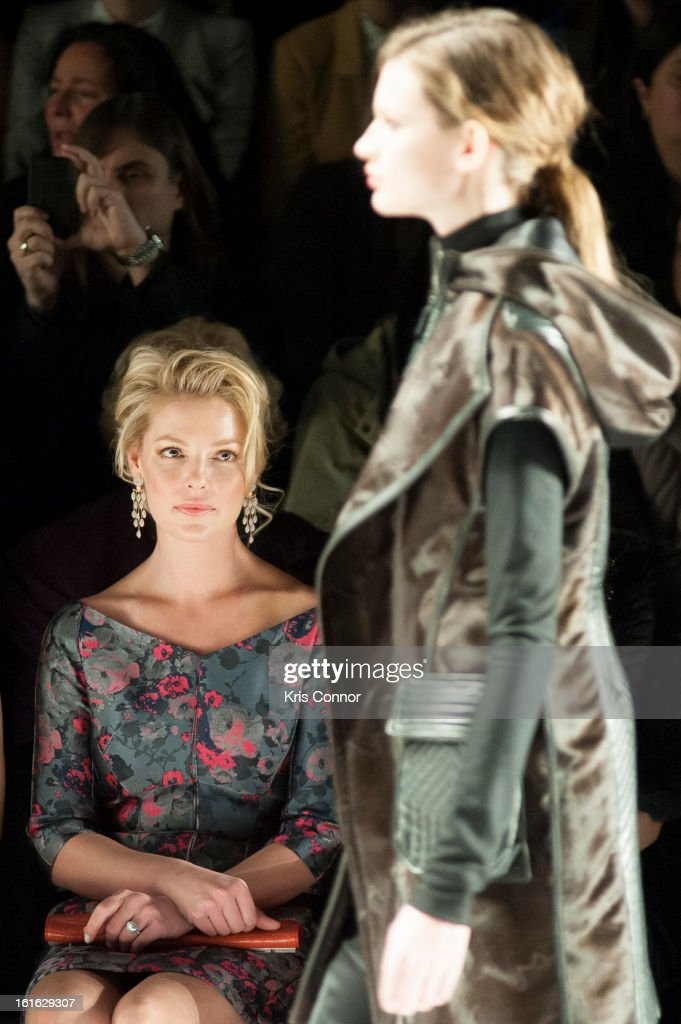 <a gi-track='captionPersonalityLinkClicked' href=/galleries/search?phrase=Katherine+Heigl&family=editorial&specificpeople=206952 ng-click='$event.stopPropagation()'>Katherine Heigl</a> watches the J. Mendel Fall 2013 Mercedes-Benz Fashion Show at The Theater at Lincoln Center on February 13, 2013 in New York City.