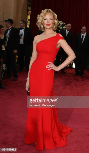 Katherine Heigl wearing Escada arrives for the 80th Academy Awards at the Kodak Theatre Los Angeles