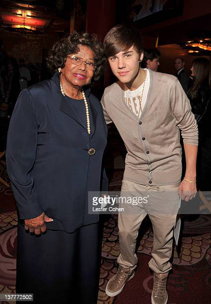 Katherine Jackson and Justin Bieber attend the immortalization of Michael Jackson at Grauman's Chinese Theatre Hand Footprint ceremony held at...