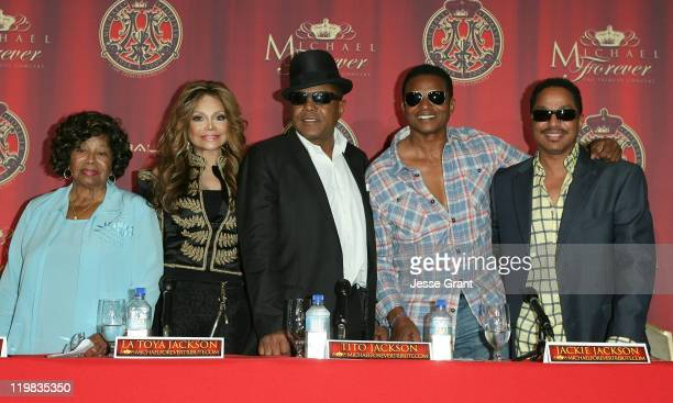 Katherine Jackson La Toya Jackson Tito Jackson and Marlon Jackson attend the Jackson Family press conference for global announcement at the Beverly...