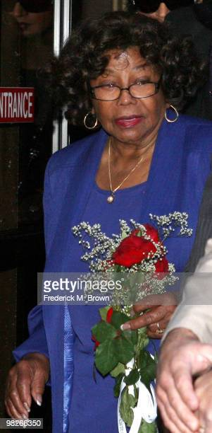 Katherine Jackson mother of late pop icon Michael Jackson leaves the Los Angeles Criminal Courts building after a court appearance by Dr Conrad...