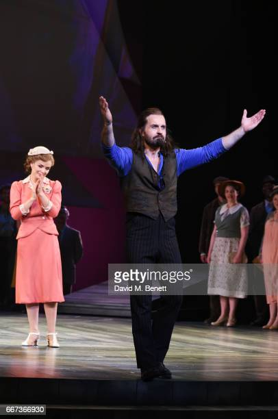 Katherine Jenkins and Alfie Boe bow at the curtain call during the press night performance of the English National Opera's production of Rodgers...