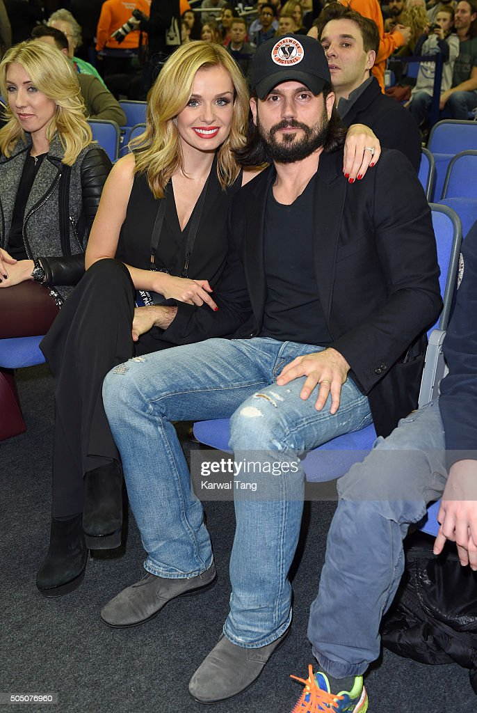 Katherine Jenkins and Andrew Levitas attend the Orlando Magic vs Toronto Raptors NBA Global Game at The O2 Arena on January 14, 2016 in London, England.