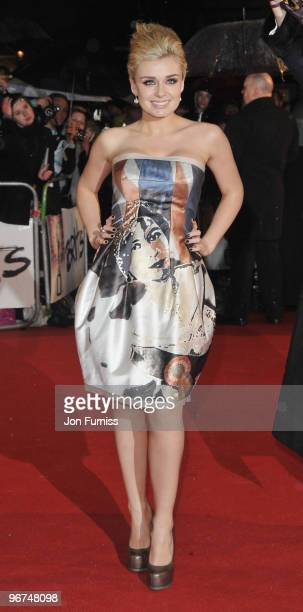 Katherine Jenkins arrives on the red carpet for The Brit Awards 2010 at Earls Court on February 16 2010 in London England