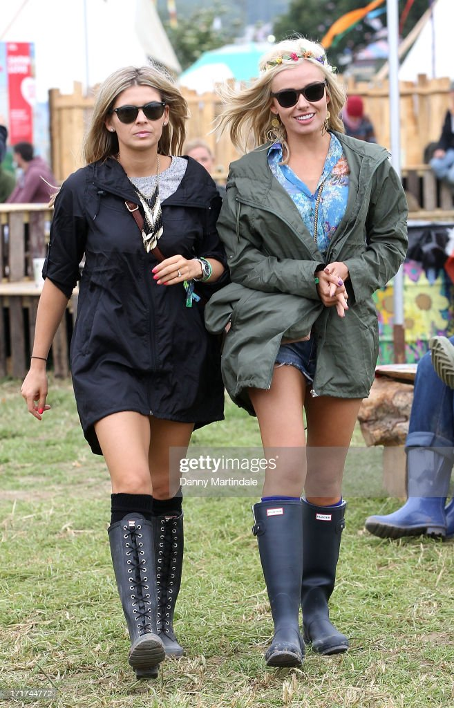 Katherine Jenkins (R) attends day 2 of the 2013 Glastonbury Festival at Worthy Farm on June 28, 2013 in Glastonbury, England.