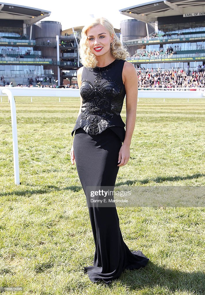Katherine Jenkins attends Grand National Day at Aintree on April 6, 2013 in Liverpool, England. Millions of pounds are being wagered on the 40 runners taking part in Europe's richest jump race the 166th Grand National.