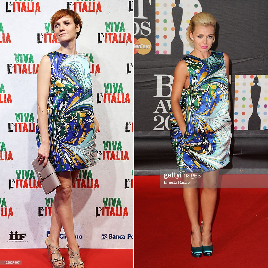 In this composite image a comparison has been made between <a gi-track='captionPersonalityLinkClicked' href=/galleries/search?phrase=Camilla+Filippi&family=editorial&specificpeople=4184165 ng-click='$event.stopPropagation()'>Camilla Filippi</a> (L) and <a gi-track='captionPersonalityLinkClicked' href=/galleries/search?phrase=Katherine+Jenkins&family=editorial&specificpeople=204776 ng-click='$event.stopPropagation()'>Katherine Jenkins</a> (R) for a Celebrity Same Dresses feature. Italian actress <a gi-track='captionPersonalityLinkClicked' href=/galleries/search?phrase=Camilla+Filippi&family=editorial&specificpeople=4184165 ng-click='$event.stopPropagation()'>Camilla Filippi</a> attends the 'W L'Italia' premiere at Cinema Adriano on October 22, 2012 in Rome, Italy. <a gi-track='captionPersonalityLinkClicked' href=/galleries/search?phrase=Katherine+Jenkins&family=editorial&specificpeople=204776 ng-click='$event.stopPropagation()'>Katherine Jenkins</a> attends the Brit Awards 2013 at the 02 Arena on February 20, 2013 in London, England.