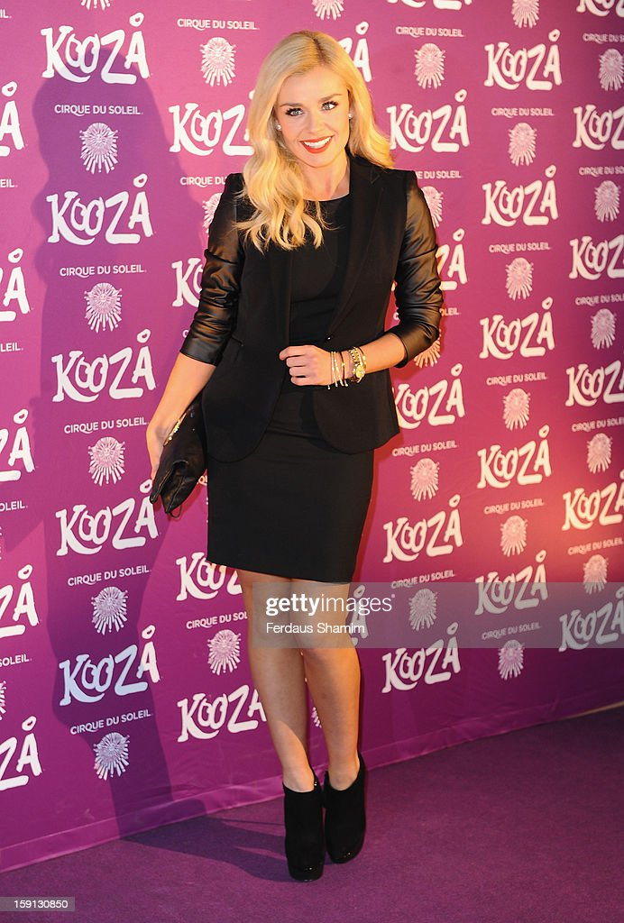 Katherine Jenkins attends the opening night of Cirque Du Soleil's Kooza at Royal Albert Hall on January 8, 2013 in London, England.