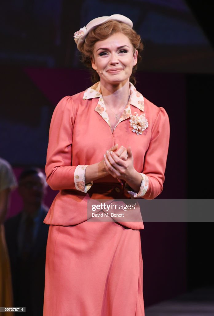 Katherine Jenkins bows at the curtain call during the press night performance of the English National Opera's production of Rodgers & Hammerstein's 'Carousel' at The London Coliseum on April 11, 2017 in London, England.