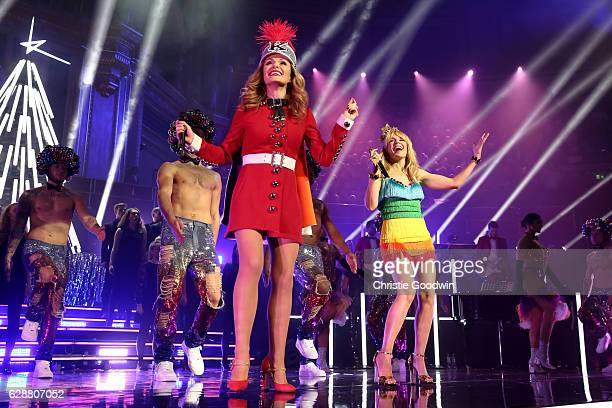 Katherine Jenkins joins Kylie Minogue on stage at the Royal Albert Hall on December 9 2016 in London England