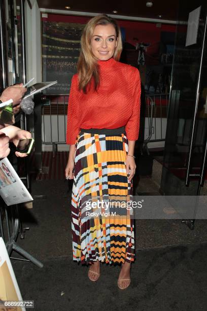 Katherine Jenkins leaving London Coliseum after her performance in 'Carousel' on April 10 2017 in London England