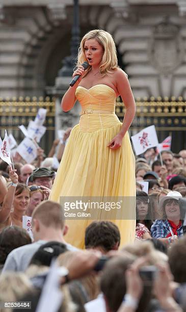 Katherine Jenkins performs on stage at the official Olympic Games handover party outside Buckingham Palace on August 24 2008 in London England Around...