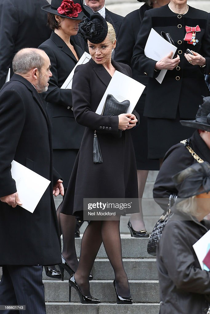 Katherine Jenkins seen attending Baroness Thatcher's Funeral at St Paul's Cathedral on April 17, 2013 in London, England.