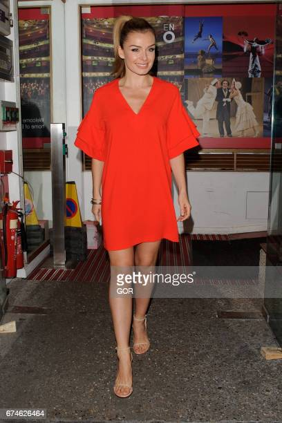 Katherine Jenkins sighting leaving the Coliseum theatre on April 28 2017 in London England