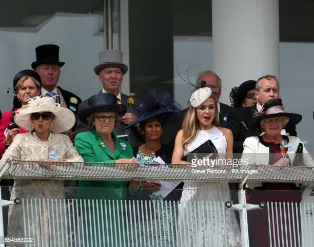 Katherine Jenkins watches racing during Investec Derby Day at Epsom Downs Racecourse Surrey