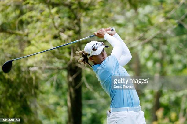 Katherine Kirk of Australia hits her tee shot on the third hole during the third round of the Thornberry Creek LPGA Classic at Thornberry Creek at...