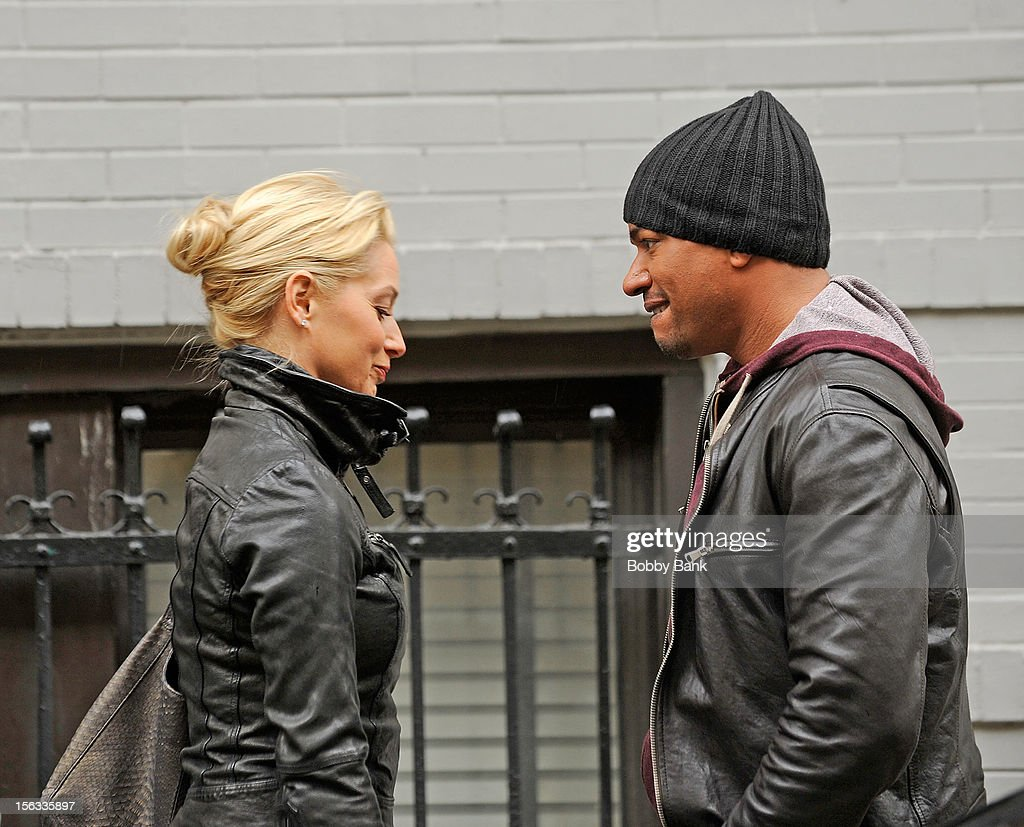Katherine La Nasa and Laz Alonzo filming on location for 'Infamous' on November 13, 2012 in New York City.