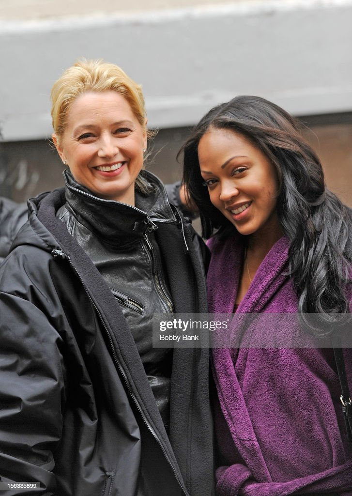 Katherine La Nasa and <a gi-track='captionPersonalityLinkClicked' href=/galleries/search?phrase=Meagan+Good&family=editorial&specificpeople=171680 ng-click='$event.stopPropagation()'>Meagan Good</a> filming on location for 'Infamous' on November 13, 2012 in New York City.