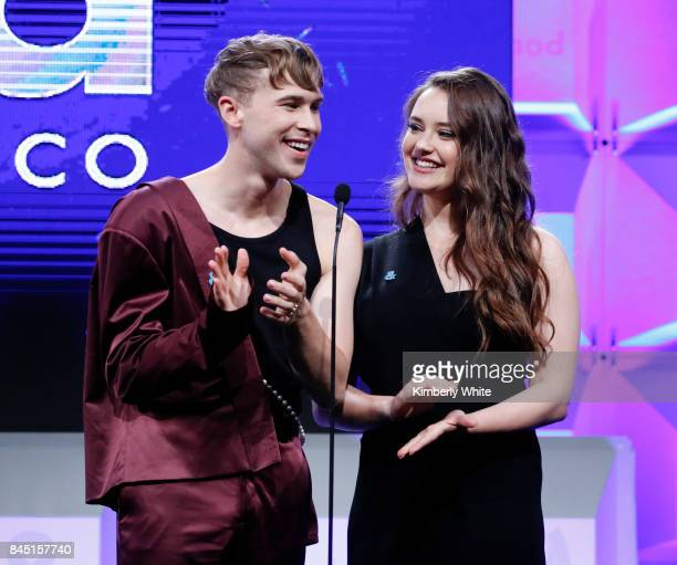 Katherine Langford and Tommy Dorfman speak at the 2017 GLAAD Gala at City View at Metreon on September 9 2017 in San Francisco California